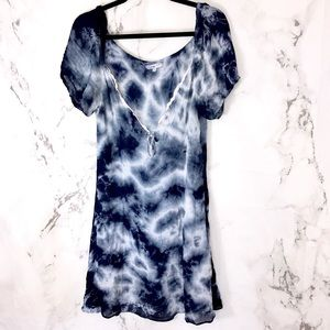 Miaou blue tie dye puff sleeve v neck dress D26